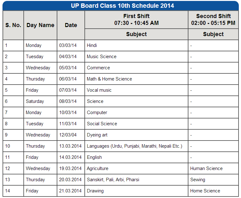 up board high school 10th class time table date sheet