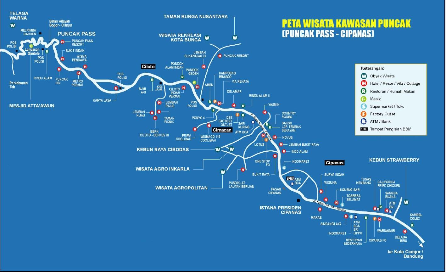Puncak Indonesia  City pictures : Peta wisata Puncak Ciawi atas Puncak Cipanas bawah