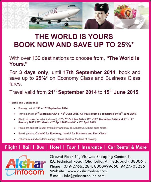 Qatar Airways - Book Now!!! With Over 130 Destinations to choose AKSHAR INFOCOM qatar airways