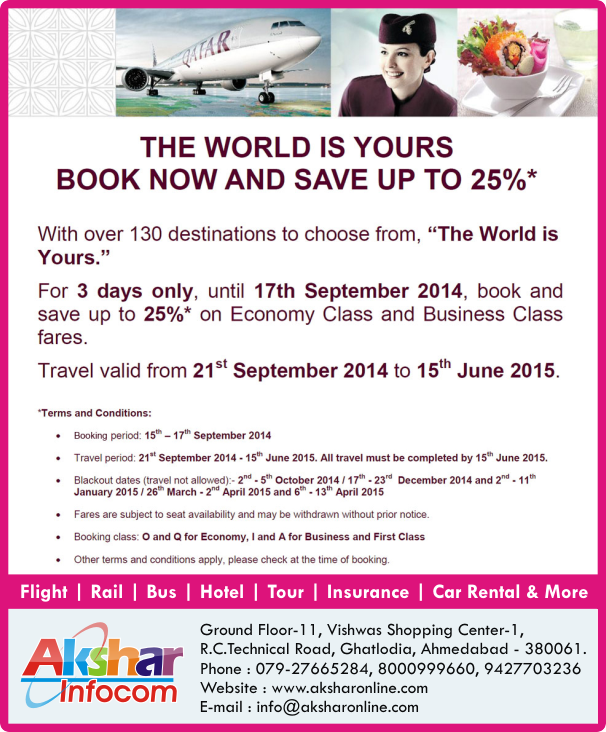 QATAR AIRWAYS - BOOK NOW AND SAVE UP TO 25%*