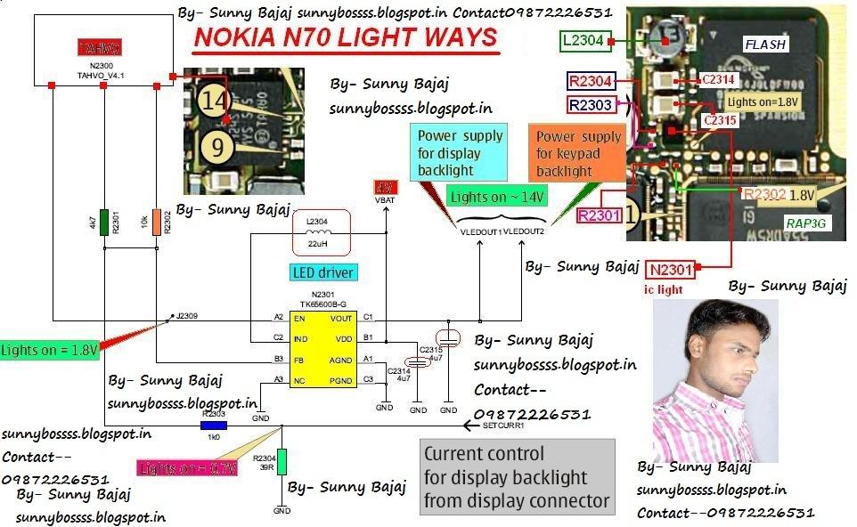 Sunny Bajaj  Nokia N70 Light Ways Circuit    Diagram