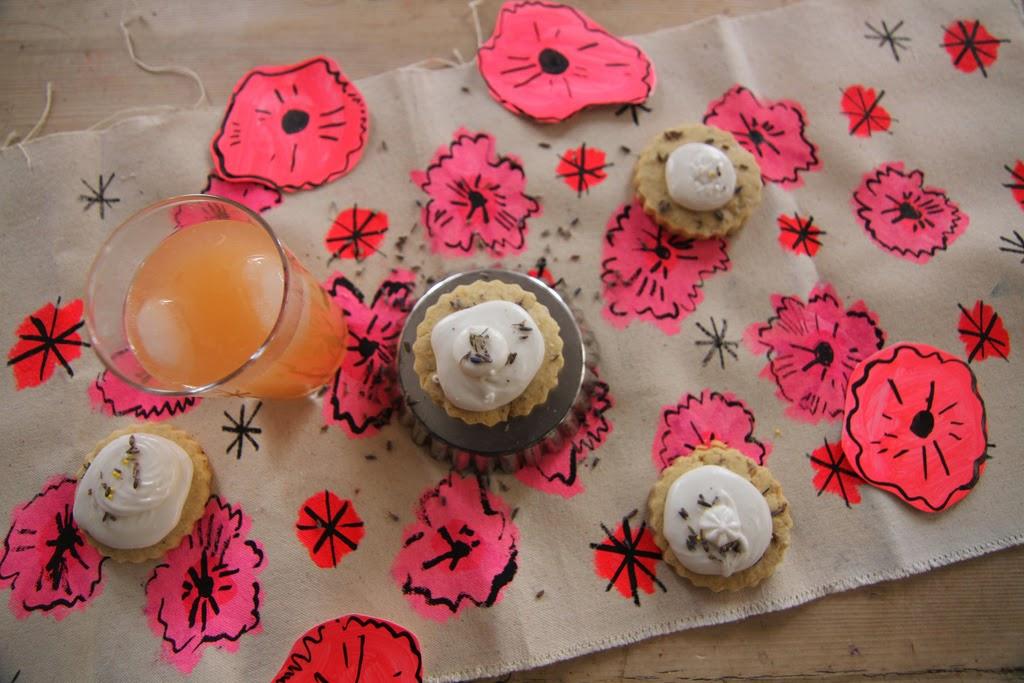 Lemon-Lavender Meringue Pie Cookies with Elizabeth Graeber Table Runner
