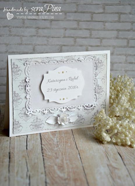 delikatne eleganckie zimowe zaproszenia ślubne ręcznie robione scrapina handmade papiery uhk gallery pamiątka ślubna personalizowanie białe zawiadomienia