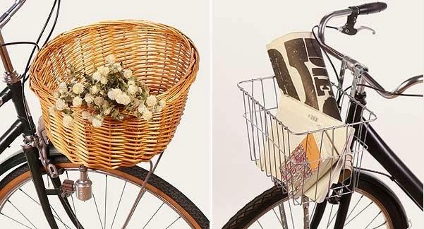 Cesta de mimbre y metálica para bicicleta urbana