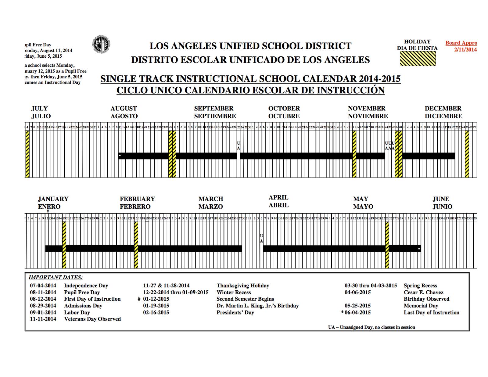 Mrs Liberman S 3rd Grade Class Lausd Calendar