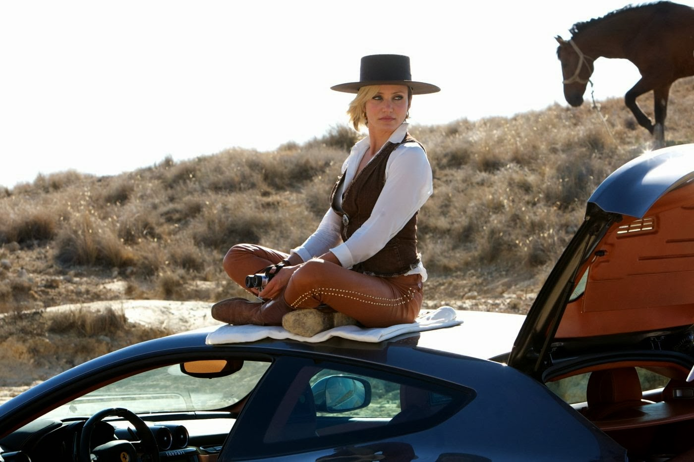 Cameron Diaz as Malkina, sitting on the roof of the car, The Counselor (2013), Directed by Ridley Scott