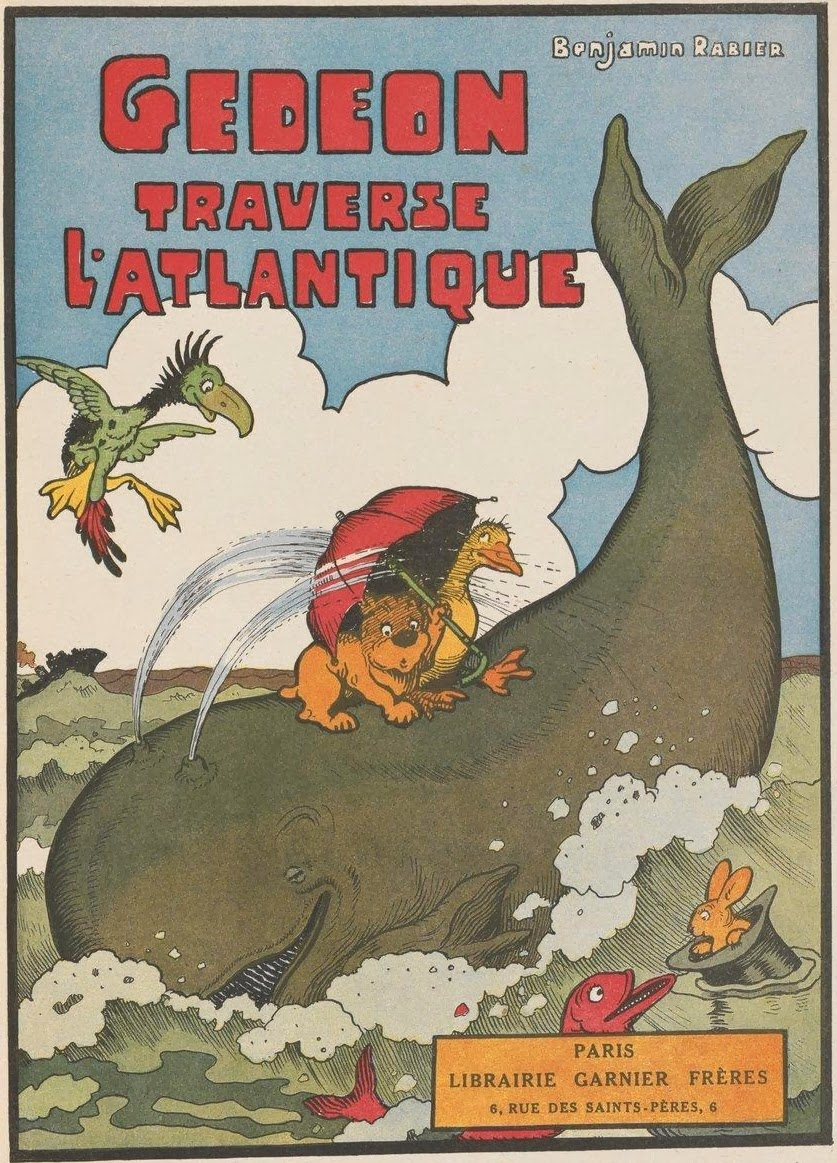book frontispiece/title-page colour illustration of smiling whale and cartoon animals