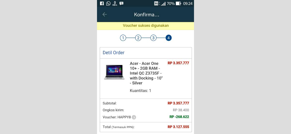 Harga Acer One 10 September 2015