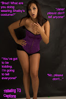 Titillating TG Captions, a feminized showgirl
