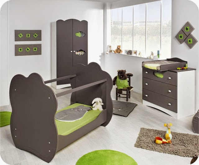 Dormitorios para beb s en verde y gris dormitorios for Dormitorio gris
