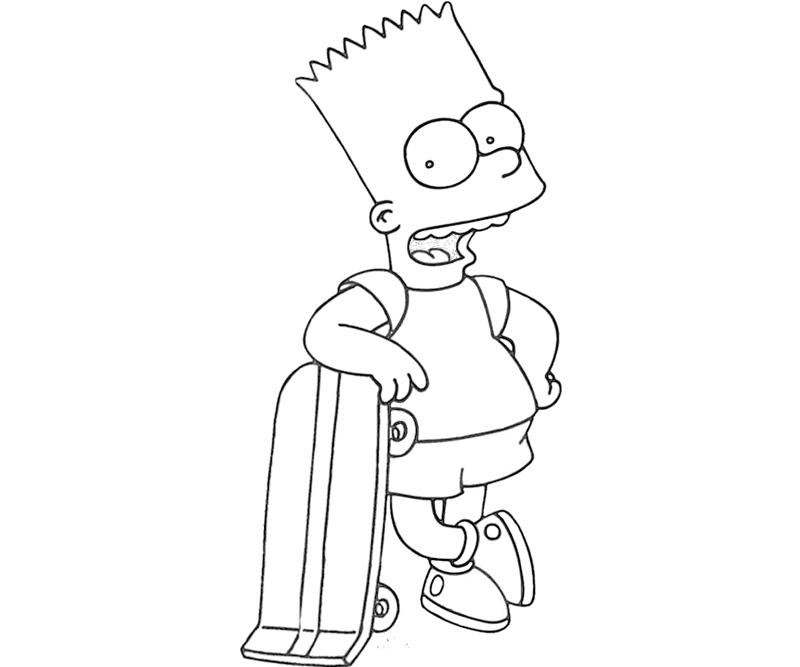 bart simpson skateboarding coloring pages