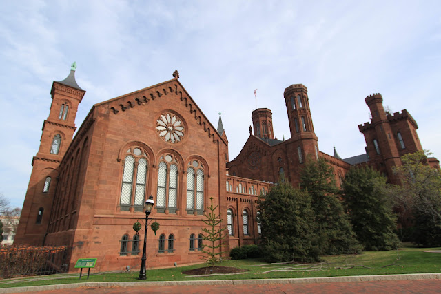 Smithsonian Castle with the garden at the back of the main building, located on the National Mall in Washington DC, USA