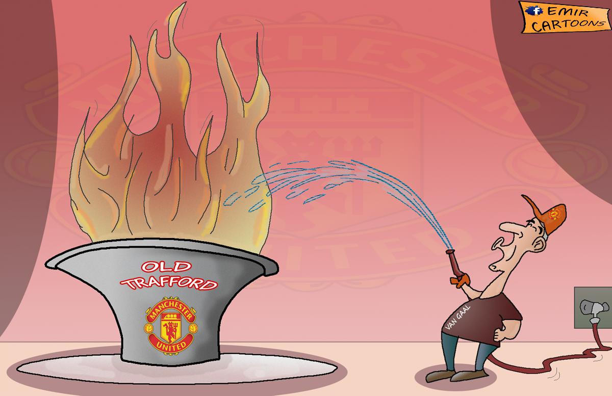 Van Gall, Manchester United, Old Traford,Fergusona,emir balkan cartoons,emir cartoons,fudbal,karikature,karikatura dana,