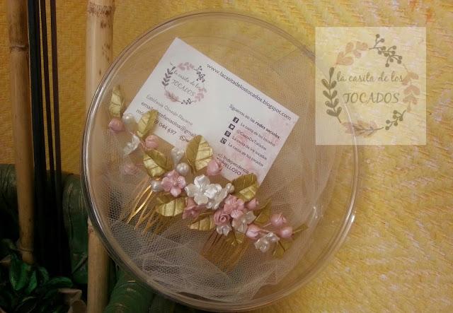peineta de hojas y flores para novia vintage en dorado, rosa y blanco
