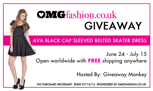 Enter to win an Ava Black Cap Sleeved Belted Skater Dress from OMGFashion. Ends 7/15.