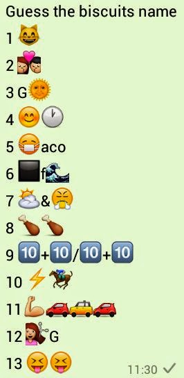 Guess the Biscuits Name whatsapp puzzle