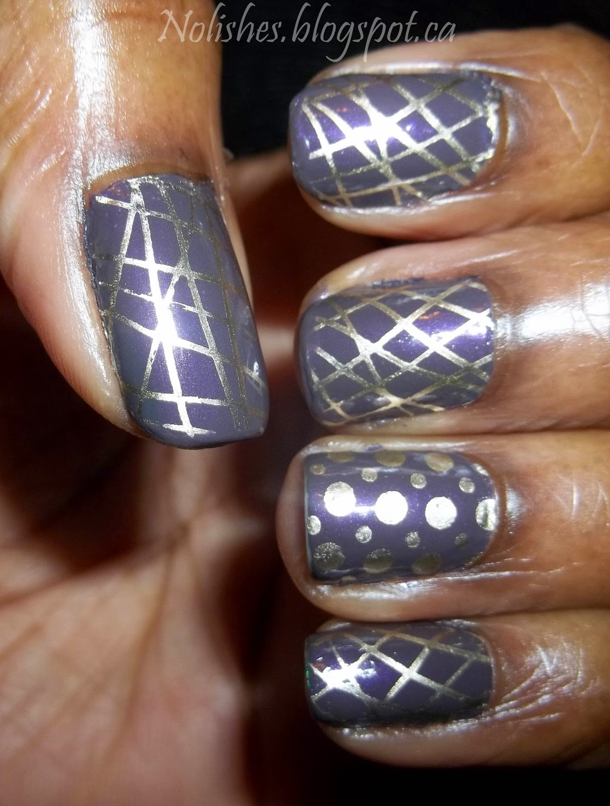 Purple and Gold Nail Stamping Manicure using Revlon 'Naughty' and Sally Hansen 'Liquid Gold'. Stamped with dot and line full nail patterns from DRK Nails stamping plate DRK-A