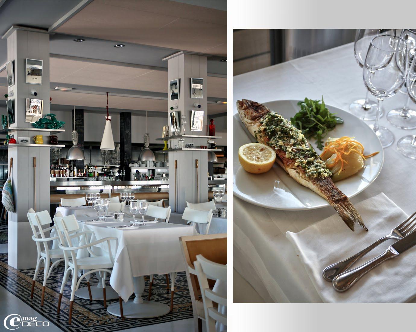 Fauteuils Thonet et tables en bois laqué et pieds en fonte Pedrali, dans le restaurant La Co(o)rniche réaménagé par Philippe Stark
