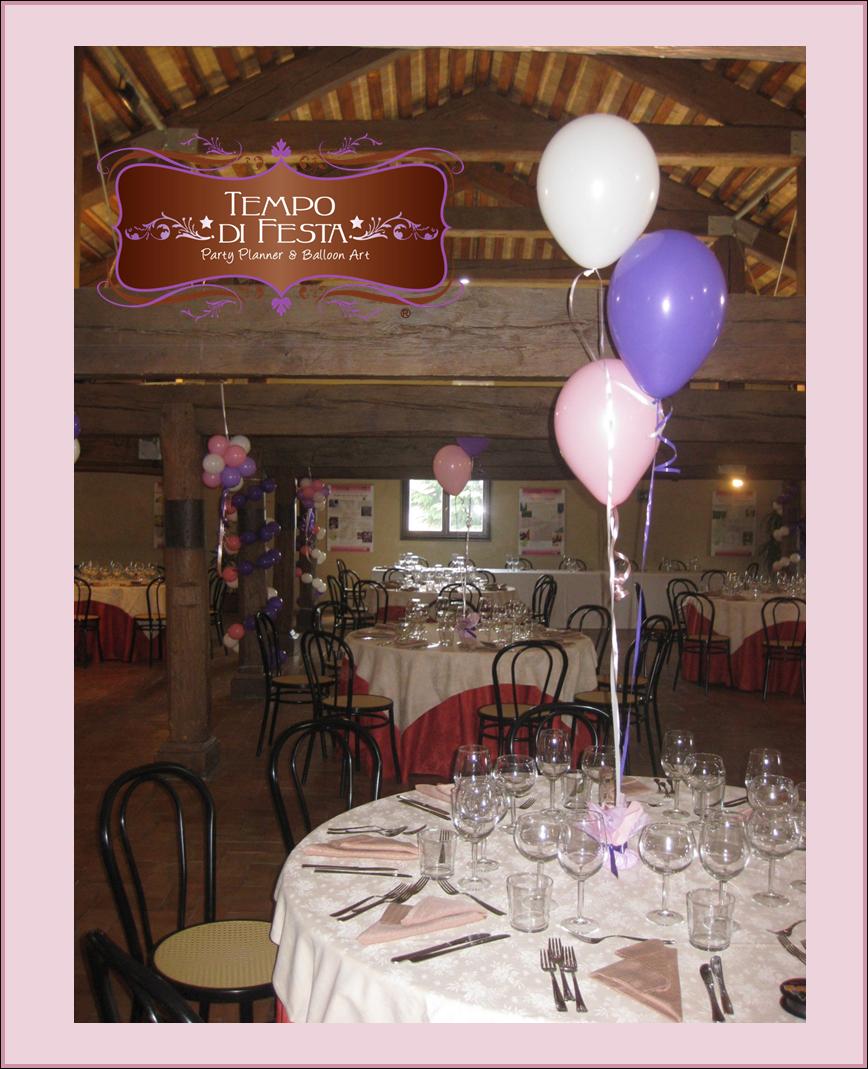 Battesimo rosa lilla e bianco tempo di festa - Composizione palloncini da tavolo ...
