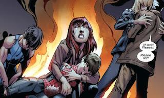 Cena da revista de história em quadrinhos Homem-Aranha Ultimate 169 / 170, com a morte do personagem-título