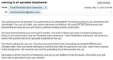 Threatening email sent to Mundo Sin Islam