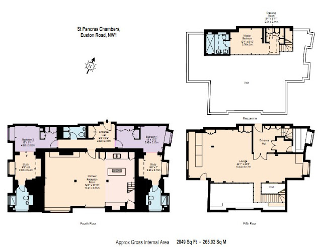 Floor plans of all three floors of the penthouse