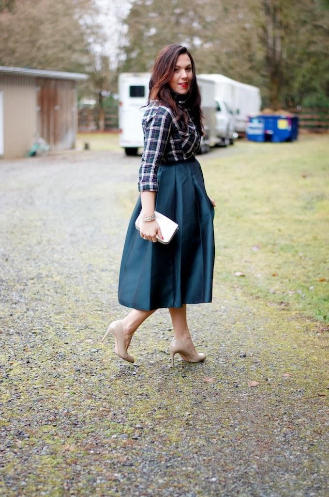 Tibi Simona skirt and evergreen plaid outfit idea