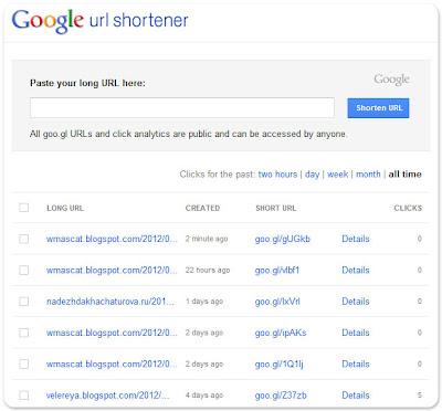 список коротких ссылок в Google Url Shortener
