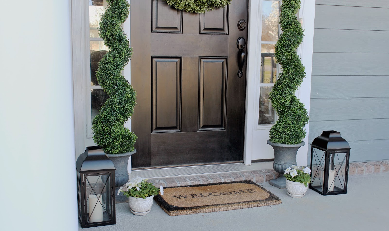 Topiaries, Front Porch Decorations, White Rockers, Boxwood Wreath