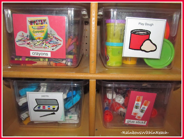 photo of: Art Supplies Organized into Clear Bins and Labeled with Photos of Supplies