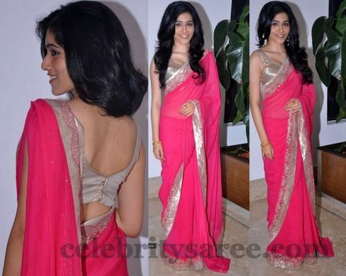 Ghazai Plain Pink Saree
