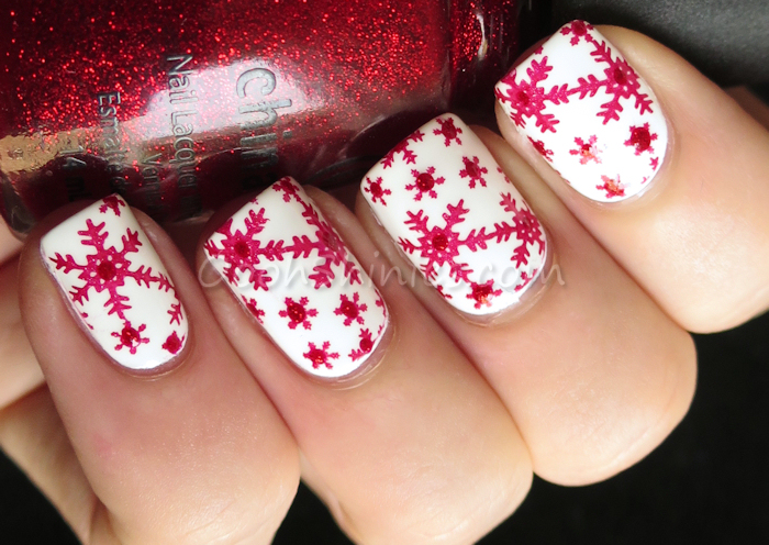 Sinful Colors Snow Me White stamped with A England Rose Bower and BornPrettyStore plate 01, and China Glaze Ruby Pumps
