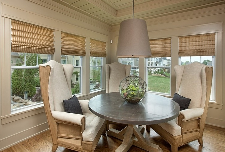 Round wooden table in Craftsman style home in Dublin, Ohio