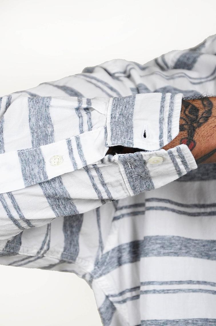 Dude style, striped linen shirt, tattoo