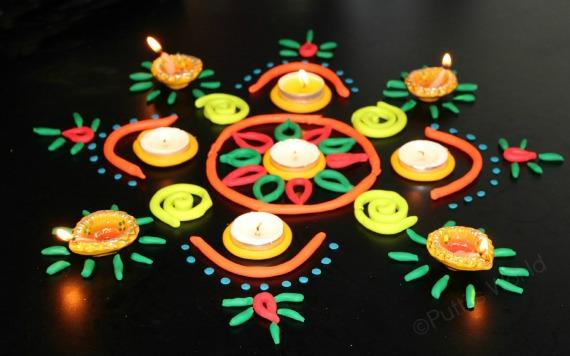 playdough rangoli pattern
