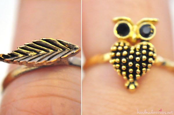 Thin Golden Leaf and Owl Heart Ring