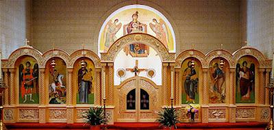 Iconostasi divisione in una chiesa che separa il presbiterio dallo spazio adibito ai fedeli