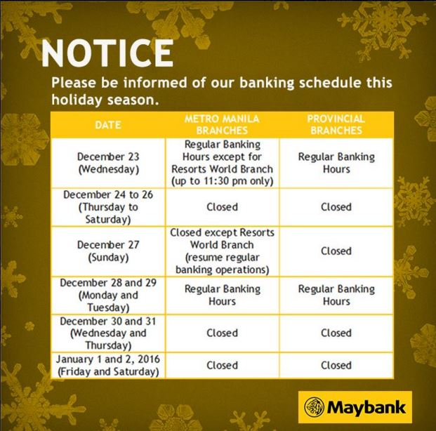Maybank Philippines Holiday Schedule