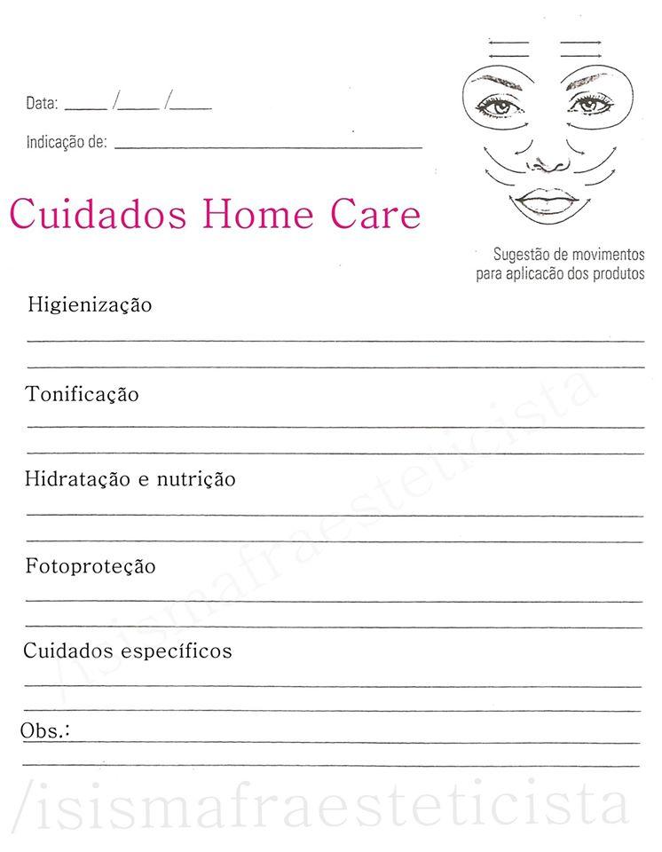 Favoritos Dica: Ficha para produtos home care - Isis Mafra Esteticista NM56