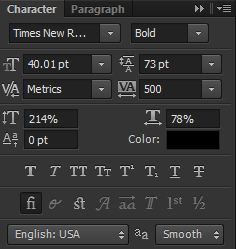 photoshop cs6 : character and paragraph tool