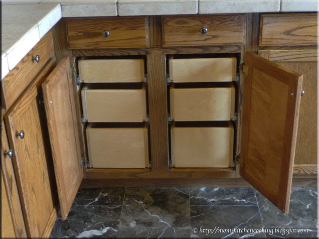 custom built drawers installed in cabinet