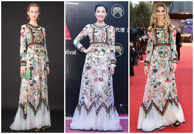 2015 Golden Melody Awards A-Lin in Valentino 2015 Resort Folkloric Long-Sleeved Tulle Gown 3 Looks