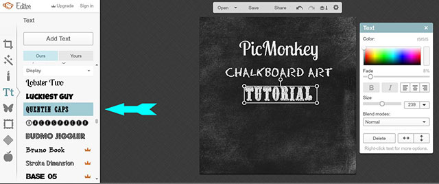 Easy to follow tutorial on how to use PicMonkey to create chalkboard printables on your computer!   Also includes 10 FREE fonts that look great on a chalkboard!