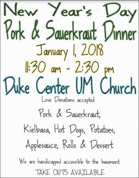 1-1-2018 Pork & Sauerkraut Dinner