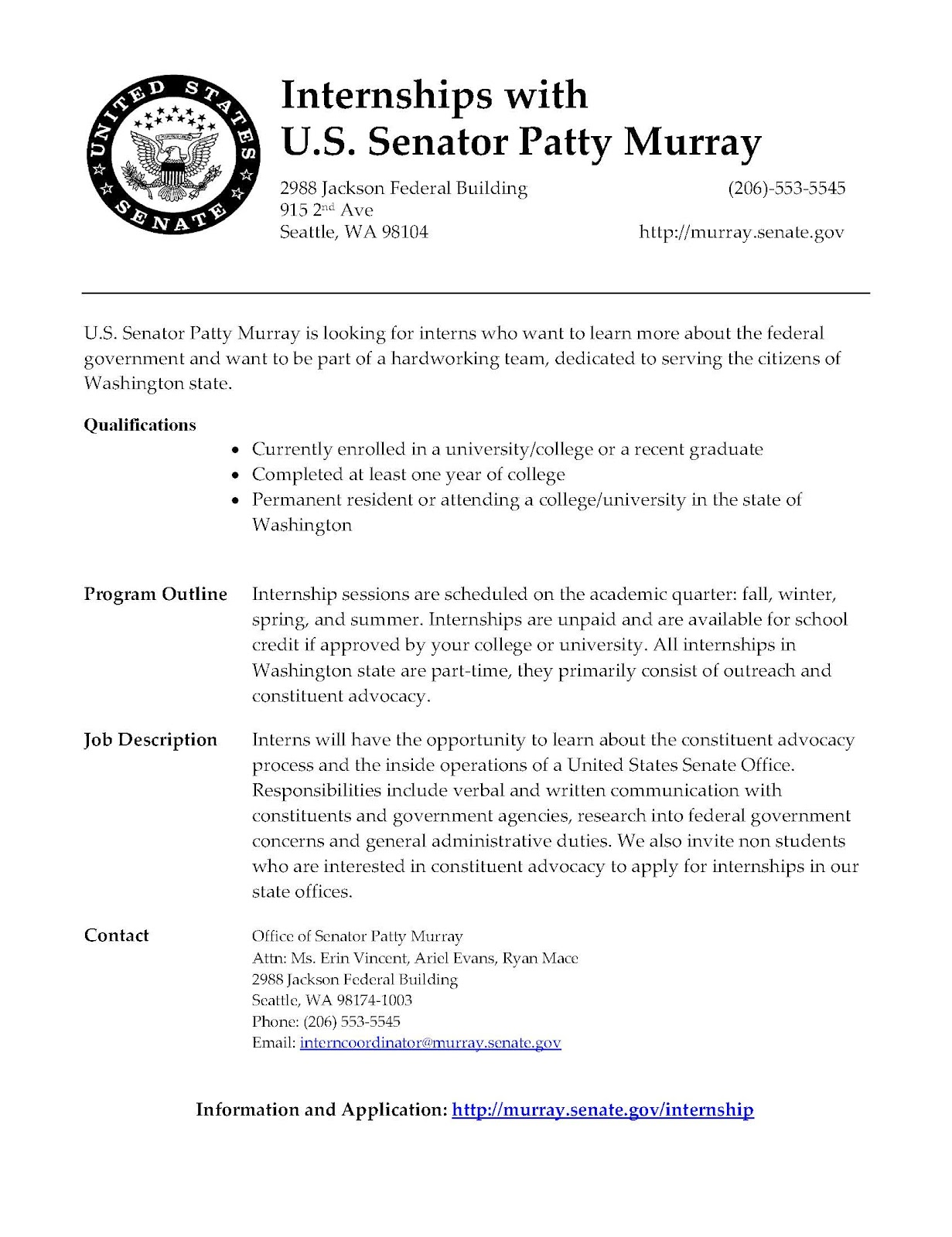 Politics and Government University of Puget Sound August 2012 – Political Internship Cover Letter
