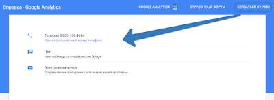 Телефон поддержки Google Analytics
