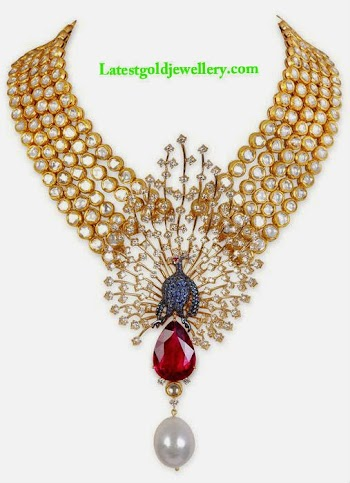 Latest Gold Jewellery Designs Uncut Diamond Necklace