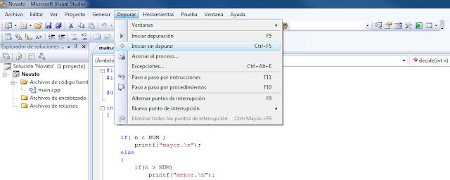 Ejemplo de como se puede ejecutar programar desde Microsoft Visual Studio