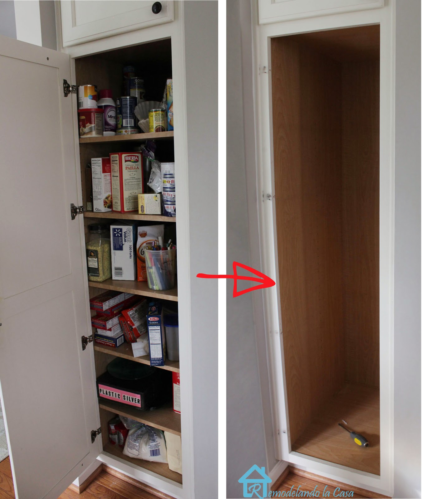 pantry cabinet is emptied for slide installation remodelando la casa  kitchen organization   pull out shelves in pantry  rh   remodelandolacasa com