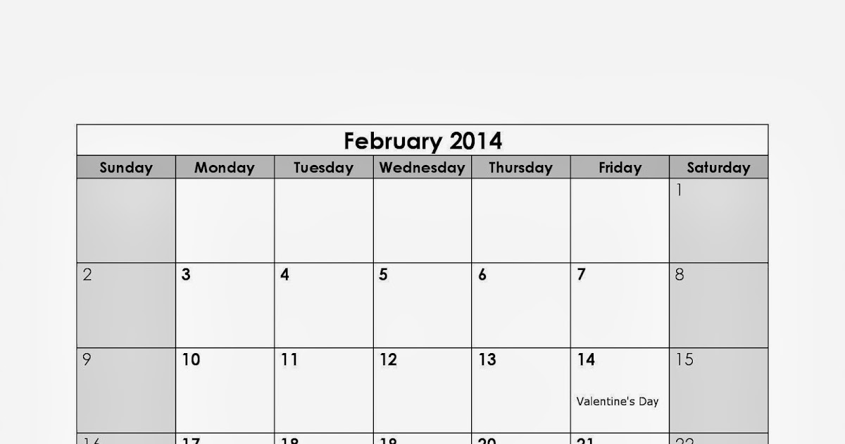 February 2014 Calendar Printable With Holidays - Printable ...
